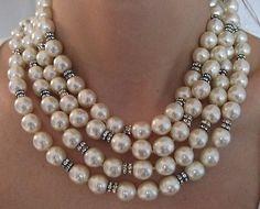 Vintage Chanel Pearl & Diamond Sautoir Necklace
