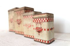 Lovely Set of 4 antique Lustucru french Red Tin Canisters . by MonsieurLouis on Etsy https://www.etsy.com/listing/184384536/lovely-set-of-4-antique-lustucru-french