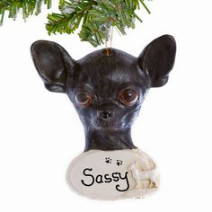 Black Chihuahua Christmas Ornament  by Christmaskeeper on Etsy, $13.95