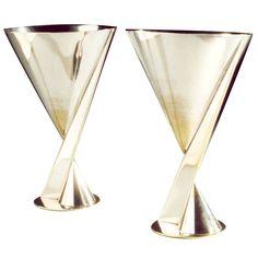 Maison Desny, 1930 Modernist Art Deco cocktail goblets,  Plated silver  H12cm  Circa, France