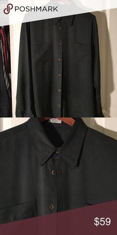 Men's Cypress Grove large long sleeve silk shirt Men's longsleeve Cypress Grove long sleeve silk shirt with hidden buttons green excellent condition Cypress grove Shirts Casual Button Down Shirts