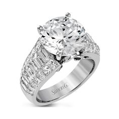 "Simon G. 18K White Gold Large Center ""Simon Set"" Diamond Engagement... ($13,400) ❤ liked on Polyvore featuring jewelry, rings, diamond rings, diamond jewelry, engagement rings, white gold diamond ring and white gold engagement rings"