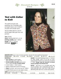 Vest with Collar to Knit - Dovetail Designs K2.24