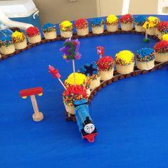 Thomas cupcake train. Perhaps for my Thomas-loving daughter's birthday coming up.