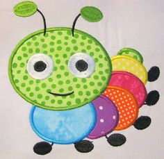 Cute Crawling Bug 04 Machine Applique Embroidery Design - 4x4, 5x7 & 6x8 via Etsy
