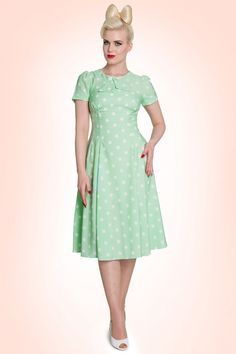 Bunny - 50s Madden Dress in Mint Green And White Polkadot