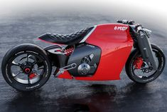Designed as a passion-project and personal concept, the Ducati è rossa comes at a perfect time, as the company's CEO reveals that they're working on an electric motorbike of their own, after developing models of electric bicycles and scooters. Womens Motorcycle Helmets, Cafe Racer Motorcycle, Motorcycle Design, Concept Motorcycles, Custom Motorcycles, Custom Bikes, Ducati St4, Ducati Classic, Foldable Bicycle