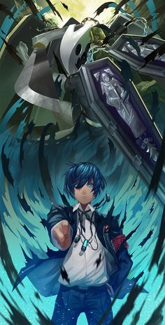 Shin Megami Tensei: PERSONA 3, Thanatos (PERSONA), Yuuki Makoto (PERSONA 3) by Nanaya (Daaijianglin)