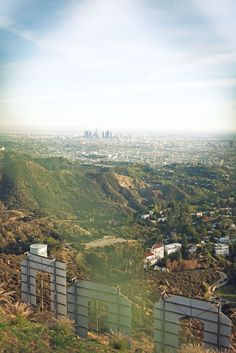View from behind the Hollywood sign looking out towards the city.