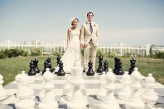 King Queen / Bride Groom on giant chess board! Giant Chess, Giant Games, Cape Cod Wedding, King Queen, Bride Groom, Hot Pink, Wedding Photos, Dream Wedding, White Dress