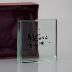 Personalised Mother's Day Glass Block