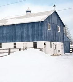 snowy barn. Reminds me of my Grandparent's house in the winter… It wasn't blue but…