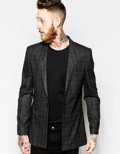 $63, Charcoal Plaid Blazer: Brand Skinny Fit Longline Blazer In Check by Asos. Sold by Asos. Click for more info: http://lookastic.com/men/shop_items/163479/redirect
