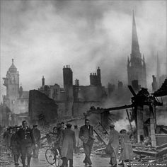 The Blitz: On 14 November the Luftwaffe shifted its focus to Coventry, one of the most important manufacturing cities in Britain. In the single most devastating night of bombing to that point, three-quarters of the city centre was destroyed. End Of The World, World War Two, Coventry Blitz, Coventry United, Coventry England, Shock And Awe, The Blitz, Air Raid, Battle Of Britain