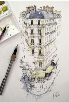 Travel drawing ideas urban sketchers 39 ideas for 2019 Watercolor Architecture, Architecture Drawings, Drawing Sketches, Art Drawings, Drawing Ideas, Cat Sketch, Kunst Poster, Watercolor Sketch, Watercolor Galaxy