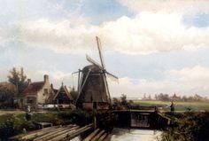 Willem Koekkoek (Amsterdam 1839-1895 Nieuwer-Amstel (thans Amstelveen)) Poldermolen in zomers landschap - Kunsthandel Simonis en Buunk, Ede (Nederland).