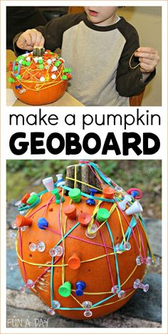 How to Make a Geoboard Pumpkin for Super Fun Pumpkin Math This geoboard pumpkin is a simple set up for hours of learning fun with pumpkin math! A pumpkin geoboard equals an awesome fall STEM activity. Early Learning Activities, Autumn Activities For Kids, Fall Preschool, Preschool Themes, Halloween Activities, Stem Activities, Toddler Preschool, Toddler Activities, Preschool Halloween