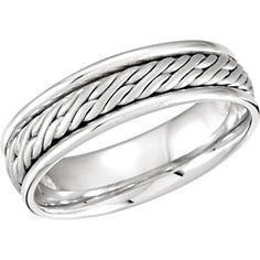 50988 / 14kt White / SIZE 05.00 / Polished / BRD DUO 06.50 MM HD WVN FIT BD