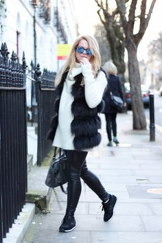 jenni ukkonen fur vest leather pants nikes