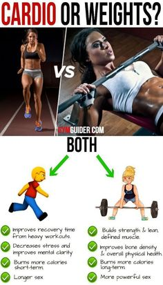Weights vs Cardio: Which Burns More Fat? Your Guide to the Perfect Body Many people who've decided to lose weight find themselves stuck with a tricky question — should they do cardio or lift. Fitness Workouts, Fun Workouts, Fitness Tips, Fitness Motivation, Weights Vs Cardio, Lift Weights, Ways To Lose Weight, Weight Loss Tips, Losing Weight