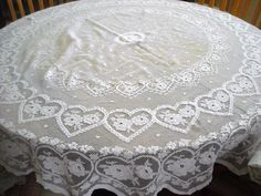 Vintage Round Lace Tablecloth
