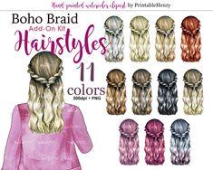 Boho girls hairstyles braided wavy hair best friend custom portrait creator character clipart customizable fashion clipart Printablehenry Light Blonde Hair, Light Hair, Dark Hair, Blue Hair, Sporty Hairstyles, Girl Hairstyles, Braided Hairstyles, Raspberry Hair, Hair Clipart