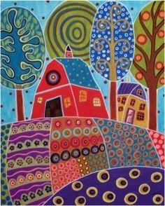 Après les petites fleurs et les petits oiseaux, j'ai demandé à mes élèves (des moyennes sections), de dessiner une maison avec son jardin fleuri comme Karla Gerard sait si bien les faire. Bien que je suis une inconditionnelle du dessin dirigé avec modèle...