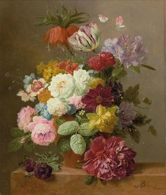 Arnoldus Bloemers (1786-1844) still life with flowers