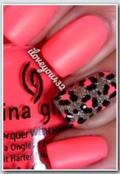 bright pink & statement silver/pink leopard nails...x