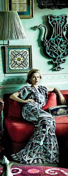 Follow Rent a Stylist http://pinterest.com/rentastylist/ Kate Moss in Etro dress