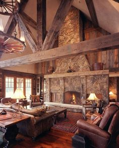 47 Extremely cozy and rustic cabin style living rooms A snowy retreat in the mountains can be very cozy nestled in your cabin style living room with a roaring fire, warm colors and cozy fabrics and artwork. Western Living Rooms, Cozy Living Rooms, Home Living Room, Country Living, Living Room Decor Images, Living Room Designs, Salons Cosy, Ranch Remodel, Rustic Home Design