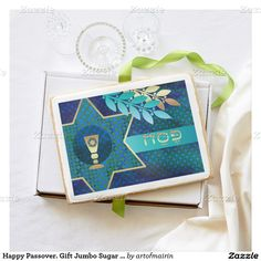 Happy Passover / Happy Pesach / Shalom at Pesach. Elegant Festive Design with Star of David and Kiddush Design Gift Jumbo Sugar Cookies. Matching cards, postage stamps and other products available in the Jewish Holidays / Hanukkah Category of the artofmairin store at zazzle.com