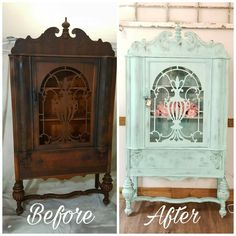 This Before and After was my kinda big deal (to me) on my Instagram page! My most liked, engaged with project! Its a gorgeous 1900s Ornate China cabinet custom teal/turquoise Chalk Paint blend. Pop of color was Pink Flowers, so trending! My painted furniture favorite, a top furniture redo, Major Inspiration, ornate furniture idea, Pairs nice with Farmhouse, shabby chic decor, pin it, like it. By The Rusty Nail Home Market #shabbychicfurniturebeforeandafter