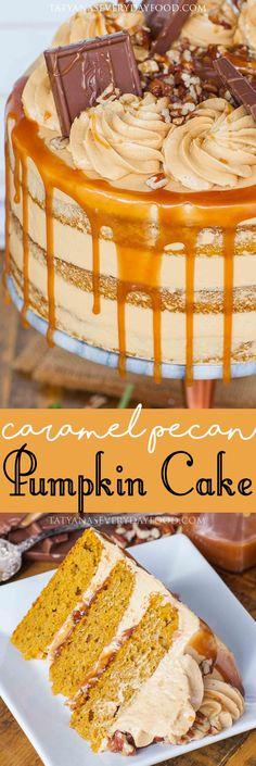 Caramel Pecan Pumpkin Cake : tatyanaseverydayfood  #thanksgiving #pecan #caramel #pumpkin #cake
