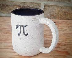 Pi Symbol Stoneware Mug - Handmade Functional Ceramic Art by Katherine Heicksen @ MuddyRaven Symboliclay on Etsy