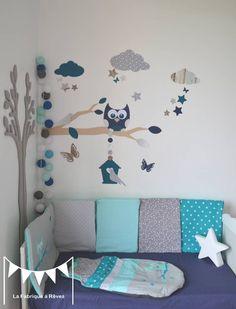 RESERVE Cristèle - Stickers chouette branche cage à oiseau nuage et étoiles version petit garçon - gris bleu lagon : Décorations murales par la-fabrique-a-reves