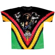 Bob Marley Perform V-Dye Men's Tie Dye T Shirt     This tye-dye Bob Marley Men's Tee features a collage of Bob performing with a back design with the classic Lion of Judah image along with the words: Bob Marley & the Wailers.    The classic look T-Shirt. Made of soft, durable 100% pre-shrunk cotton.