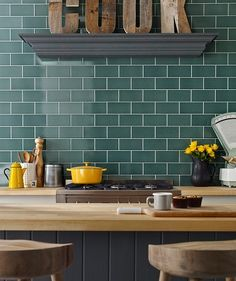 Kitchen wall tiles at Topps Tiles. Teal Kitchen, Eclectic Kitchen, Kitchen Wall Tiles, Duck Egg Blue Kitchen Units, Duck Egg Blue Bathroom, Brown Kitchen Tiles, Metro Tiles Kitchen, Kitchen Hob, Kitchen Cabinets Color Combination