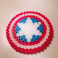 Captain America shield Perler Beads by Kate Chaplin