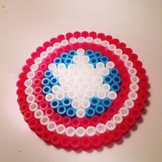 Captain America shield Perler Beads by Kate Chaplin