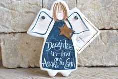 Daughter in Law Gift Salt Dough Angel by cookiedoughcreations