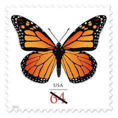 US New Butterfly Stamps-The U. Postal Service announced the first in a new series of postage stamps that will make it easier for card customers to know how much postage to put on their envelopes. Butterfly Art, Monarch Butterfly, Symmetrical Balance, Love Stamps, Stamp Collecting, My Stamp, Beautiful Butterflies, Postage Stamps, Mail Art