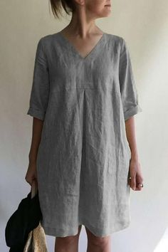 Solid V Neck Linen Tunic Dress – Amilyonline Mini Dress With Sleeves, Half Sleeves, Types Of Sleeves, Linen Tunic Dress, V Neck Midi Dress, Sewing Clothes, Online Shopping Clothes, Material, Tunic Tops