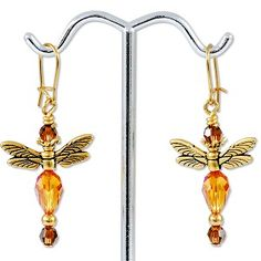 E826 - Gold Winged Dragonflies Earring Project - Only at... JewelrySupply.com Another earring with numerous variations. Dragonflies always make me think of my Stacy...