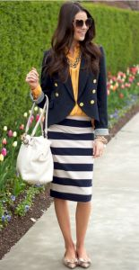 Love the skirt and the combination of yellow and nave blue