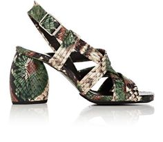 DRIES VAN NOTEN Sculpted-Heel Stamped Leather Sandals. #driesvannoten #shoes #sandals