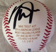 Mike Trout autographed 2012 AL ROY 14 MVP ALL STAR GAME MVP LE 2/2 Baseball. Baseball comes with COA from MVP Marketing  Management LLC. Baseball has nice bold autograph from player in black sharpie ink. Underneath player signature ball has been stamped with the marking Mike Trout 27 2014 AMERICAN