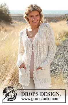 """Crochet Patterns Jacket Ravelry: Crochet jacket in """"Safran"""" pattern by DROPS design Crochet Jacket Pattern, Gilet Crochet, Crochet Coat, Crochet Clothes, Cardigans Crochet, Crochet Design, Knitting Patterns, Crochet Patterns, Free Knitting"""