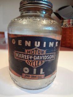 RARE Vintage Harley Davidson Original 1940's Quart Oil Glass Jar Can   eBay
