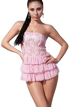 Pink Two Piece Babydoll Strapless Flower Pattern Lace Chemise set with Gstring *** Continue to the product at the image link.